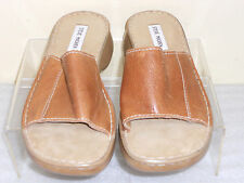 Steve Maden Beige Tan Leather Slip On Clogs Mules Slides Sz 10M EUC