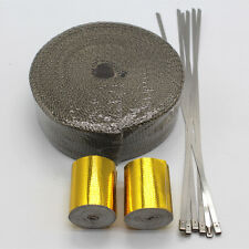 Titanium Exhaust Header Heat Pipe Wrap Tape Turbo 25Ft With Gold tape + 6 Ties