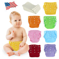 Baby Washable Cloth Diaper Adjustable Reusable Nappies Lot 5 Diapers + 5 Inserts