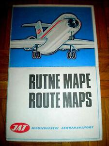 JAT ROUTE MAPS Edited JAT Belgrade 1971. JAT JUGOSLOVENSKI AEROTRANSPORT