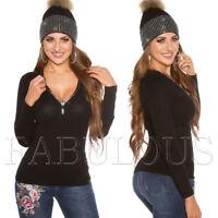 New Women's Ladies Diamante Jumper Sweater Knit Top V-Neck Size 6 8 10 XS S M