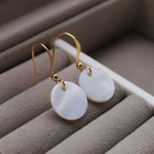 Mother of Pearl Shell Disc Drop Earrings - Round Shaped Gold Dangle Ladies UK
