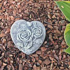 Steinfigur Herz Rosenmuster Steinguss Frostfest Wetterfest Haus Garten Grab Deko
