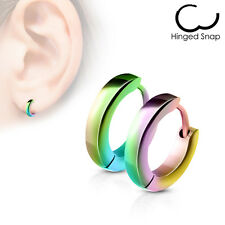 PAIR Stainless Steel Small Dome Hoop Huggie Earrings 2.5mm Wide 20g Men or Women