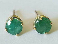 10k Yellow Gold Heavily Included Natural Emerald 5mm Round Stud Earrings Estate