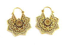 Mandala Flower Brass Earrings, Hand Crafted, Tribal, Bohemian, Made In India
