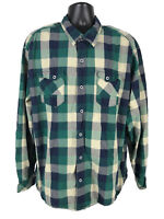 Ascend Shirt Mens Size XXL Green Blue Brown Checked Button Front Long Sleeve