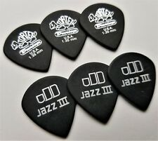 Dunlop 482R Tortex Pitch Black Jazz III Guitar Picks ,1.35 MM 6 Pack