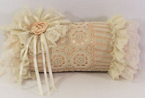 Vtg Decorative Round Bolster Throw Pillow Peach Satin Ivory Crochet Lace Flower