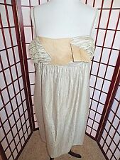 Ladies BCBG Girls size  large shimmery TAN dress bow *GREAT*