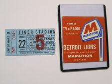 Nov 22, 1962 Green Bay Packers vs Detroit Lions Ticket Stub