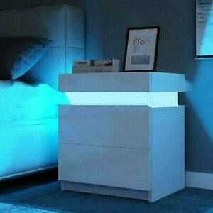 High Gloss Front 2 Drawers Bedside Table Cabinet Nightstand Unit LED Light Stand