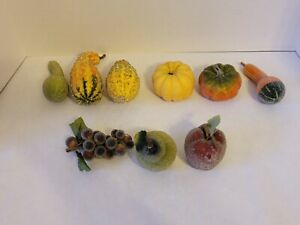 Vintage Faux Beaded Sugared Frosted Sparkly Fruits & Vegetables - Lot of 9