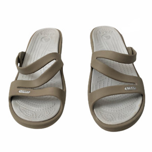 Women's Crocs Sanrah Swiftwater Slide Sandal Strappy Gray Size 10 -EXC Condition