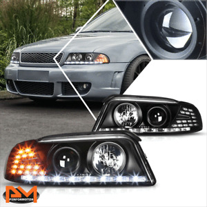 For 96-01 Audi A4/Quattro LED DRL+Amber Signal Projector Headlight/Lamp Black