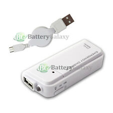 Portable Battery Charger+USB Micro Data Retractable Cable for Android Cell Phone