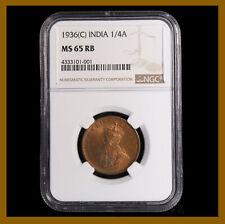 British India 1/4 (Quarter) Anna, 1936 (C) Calcutta NGC MS 65 RB King George V