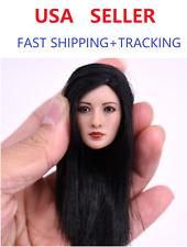 1/6 Asian Female Beauty Head Sculpt w/ Black Straight Hair in Suntan skin one