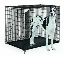"""HUGE XXL LARGE Dog Crate 54"""" Kennel w Double Doors Gray Tray Pan GIANT Dane NEW"""