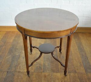 Antique circular inlaid 2 tier occasional table / lamp table