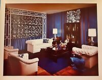 Vintage Old 1970's Photo of Blue Living Room Display White Sofa Furniture 8x10