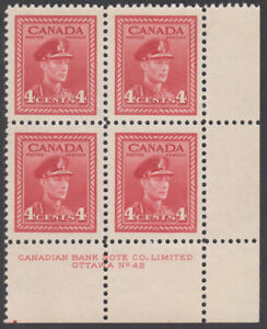 Canada - #254 King George VI War Issue Plate Block #42 - MNH