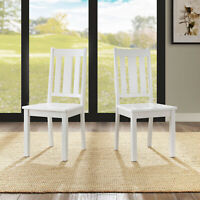 White Bankston 2-Dining Chair Indoor Home Kitchen Slat Style Armless Chair Set