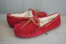 UGG DAKOTA JESTER RED MOCCASIN SUEDE SHEARLING WOMENS SLIPPERS US 11 NIB
