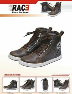 RAC3 MOTORBIKE MOTORCYCLE REAL LEATHER WATER PROOF ARMOR BOOTS SNEAKER BROWN