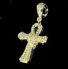 "1"" Mini Ankh Cross 14k Gold Plated Micro Pave CZ Pendant Hip Hop Icy Charm"