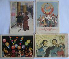 4 POSTCARD USSR Russian 1950's. Socialist Realism