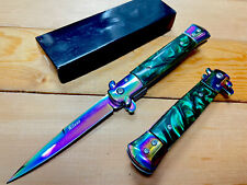 "9""Rainbow Italian Milano Stiletto Spring Assisted Folding Pocket Knife. Survival"