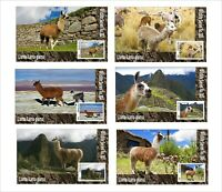 2020 LLAMA  6 SOUVENIR SHEETS UNPERFORATED  WILD ANIMALS