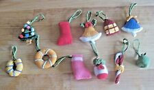 11 TINY HAND KNITTED XMAS LUXURY TREE DECORATIONS. 2 INCHES OR LESS.
