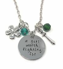 925 Silver Plt 'A Girl Worth Fighting For' Mulan Engraved Pendant Necklace A