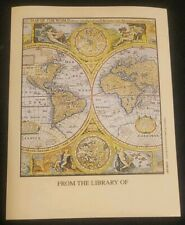 Vintage Antioch Bookplate, World Globes Maps of the world