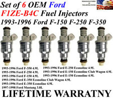 Set Of 6 Genuine Ford Fuel Injectors For 1993-1996 Ford F-150 F-250 F-350 4.9L