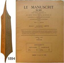 Le Manuscrit revue n°2 1894 Alphonse Labitte livre charte autographe curiosité