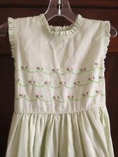 Carriage Boutique Apple Green Dress With Pink Roses Size 6 Years