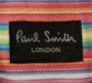 EUC PAUL SMITH men's white w/ orange mix pinstripes buttondwn L/S shirt sz15-1/2