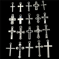 22395 20pcs mix Vintage Cross DIY Charm Pendant Silver Alloy Jewelry Marking