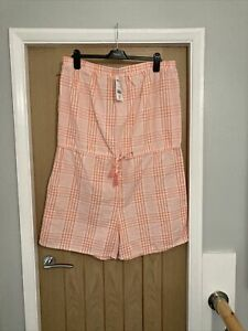Ladies NWT Next Size 18T Coral Checked Textured Playsuit Rrp £24