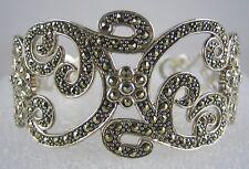 Estate Sale NEW Suspicion Sterling Silver Pavé Marcasite Swirl Cuff Bracelet NIB