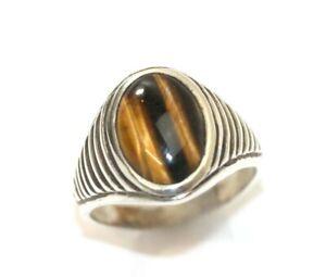 VINTAGE Men's TIGER EYE 925 Sterling Silver Ring: SIZE 12.5, 8.6 Grams