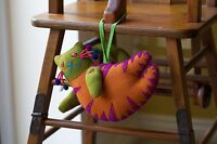 Handmade colourful Fabric Stuffed Soft Cat with beads pompom Home Deco hallway