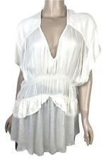 IRO EUR 40 US 8 Giselle Ruched Blouse Ecru Nude V-Neck Tiered Ruffles MSRP $435