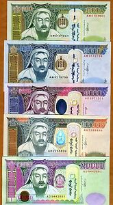 SET, Mongolia 500;1000;5000;10000;20000 Tugrik, 2002-2011, P-66;67;68;69;71 UNC