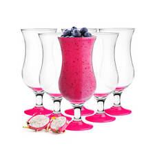 6 Cocktailgläser 480ml mit Pink handgemaltem Fuß Longdrinkgläser Glas Eisglas