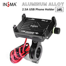 With USB Fast Charger Aluminum Motorcycle Bike Handlebar Cell Phone Holder Mount