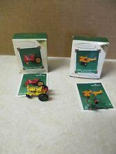Hallmark Keepsake Miniature Collector Ornaments 1930 Biplane &Antique Tractor